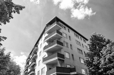 Photo for Modern house in berlin, germany. house with balcony. architecture and design concept. moving to a new apartment. comfortable house building. travel to berlin and apartment rent - Royalty Free Image