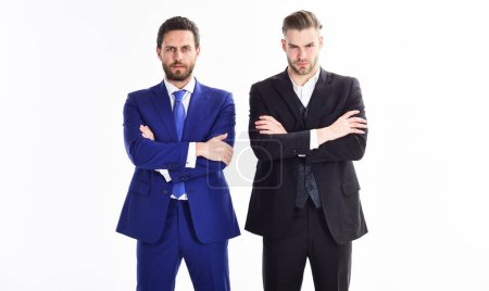 Photo for Build business team. Business leaders of department. Men businessman formal suit stand confidently with crossed arms white background. Confident business bosses. Join business team. Trust and support. - Royalty Free Image