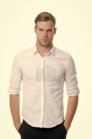 Photo for Young and confident. Man well groomed unbuttoned white collar elegant shirt isolated white background. Macho confident ready work office. Guy office worker handsome attractive puts hands pockets. - Royalty Free Image