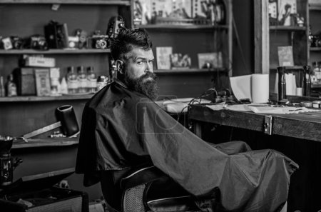 Photo for Man with beard covered with black cape sits in hairdressers chair in front of mirror. Hipster with beard waits for barber and haircut. Man with beard client of hipster barbershop. Barbershop concept. - Royalty Free Image