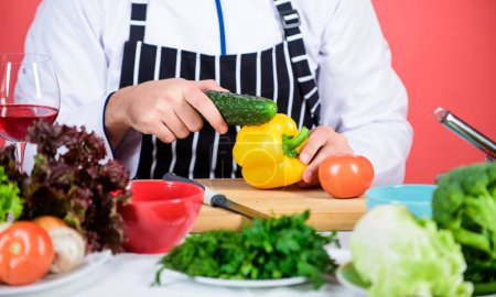 Photo for Fresh vegetables. Chef man in hat. Secret taste recipe. Bearded man cook in kitchen, culinary. Vegetarian. Mature chef with beard. Dieting and organic food, vitamin. Healthy food cooking. - Royalty Free Image