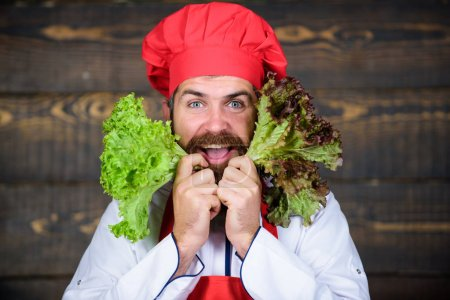 Photo for Healthy food and vegetarian. Dieting with organic food. Fresh vegetables. Vitamin. man use kitchenware. Professional chef in uniform. Happy bearded man cooking in kitchen. Only fresh healthy food. - Royalty Free Image