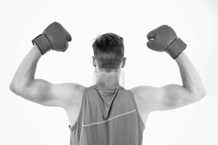 Photo for Man show muscular power flexing arms. Boxing workout in health club. Health care. Workout of the day. Regular exercise gives the muscles a good workout. - Royalty Free Image