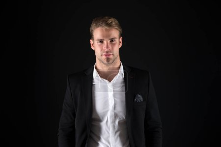 Photo for Real macho. Man handsome well groomed macho on black background. Feeling confident. Male beauty and masculinity. Guy attractive stylish confident model. Confident in his style. Man in dark clothes. - Royalty Free Image