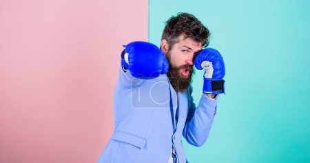 Photo for Committed to success. Bearded man in boxing stance. Businessman in formal wear and boxing gloves. Sport improves his leadership skills. Fighting for success in sport and business. Strong and powerful. - Royalty Free Image
