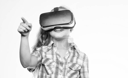 Photo for Girl cute child with head mounted display on white background. Virtual education for school pupil. Get virtual experience. Virtual reality concept. Kid explore modern technology virtual reality. - Royalty Free Image