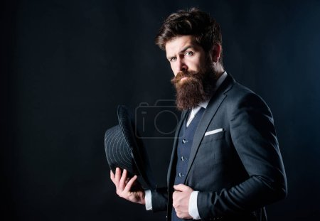 Photo for Englishman. Businessman in suit. Secret shy. Male formal fashion. brutal caucasian hipster with moustache. Detective in hat. Mature hipster with beard. Bearded man gentleman. stylish englishman. - Royalty Free Image
