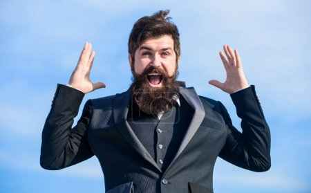 Photo for Man bearded optimistic businessman wear formal suit sky background. Success and luck. Optimistic mood. Think like optimist. Being optimistic. Hopeful and confident about future. Unexpected luck. - Royalty Free Image