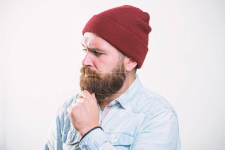 Photo for Bearded man posing confidently on white background. Barbershop concept. Man bearded with mustache brutal masculine appearance. Hipster style and fashion. Hipster bearded guy wear bright hat accessory. - Royalty Free Image