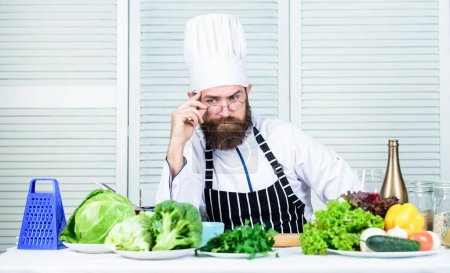 Photo for Chef handsome hipster. Get ready. Man bearded chef getting ready cooking delicious dish. Chef at work starting shift. Guy in professional uniform ready cook. Master chef concept. Culinary challenge. - Royalty Free Image