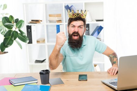 Photo pour Man bearded businessman wear golden crown. Top manager head office. Boss enjoying glory. Head office and ceo concept. Chief executive officer. Issuing decree. Office is my kingdom. King of office. - image libre de droit