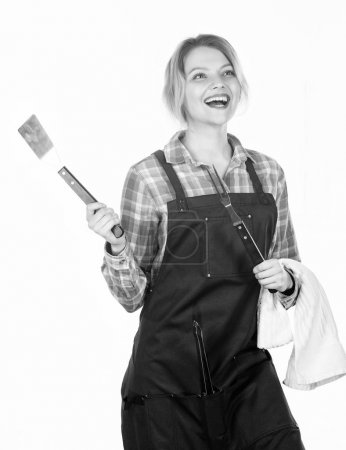Photo for Just for fun. Family weekend. Picnic barbecue. food cooking recipe. Woman hold kitchen utensils. Pretty girl in chef apron. Preparation and culinary. Tools for roasting meat outdoor. - Royalty Free Image