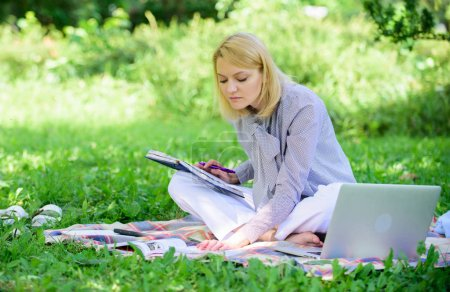 Photo for Freelance career concept. Guide starting freelance career. Become successful freelancer. Managing business outdoors. Woman with laptop sit grass meadow. Business lady freelance work outdoors. - Royalty Free Image