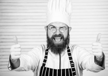 Photo for Man bearded chef getting ready cooking delicious dish. Chef at work starting shift. Guy in professional uniform ready cook. Master chef concept. Culinary is exciting. Chef handsome hipster. Get ready. - Royalty Free Image