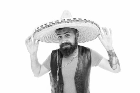 Photo for Mexican melody drives him. Celebrate traditional mexican holiday. Mexican party concept. Guy happy cheerful festive outfit ready to celebrate. Man bearded cheerful guy wear sombrero mexican hat. - Royalty Free Image