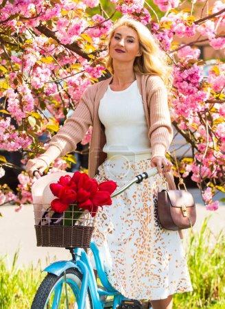 Photo pour Visites à vélo autoguidées. Balades à vélo. Femme vélo vintage. Fille romantique et fleur de sakura. La saison du printemps. Le cerisier fleurit. Découvrez la culture tout en faisant du vélo aventure. - image libre de droit