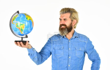 Photo for International business concept. Businessman holds Earth. whole world in one touch. Internet And Modern Technology. teacher at school geography lesson. man planning vacation. save energy. - Royalty Free Image