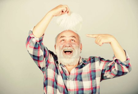 Male pattern baldness genetic condition caused by variety factors. Hair loss. Early signs balding. Man losing hair. Artificial hair. Health care concept. Elderly people. Bearded grandfather grey hair