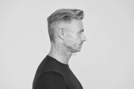Photo for Perfect skin tone. I am just man. Facial care and ageing. Attractive mature man. Mature guy with grey hair and bristle. Male portrait concept. Men get more attractive with age. Beauty of mature face. - Royalty Free Image