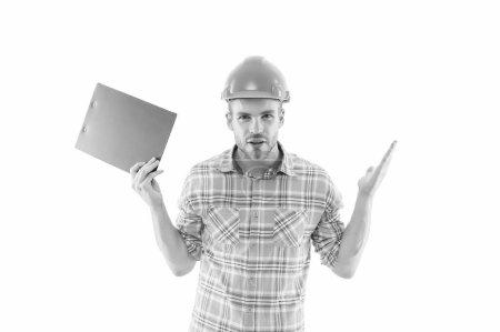 Photo pour Secteur minier en construction. Ingénieur minier au travail isolé sur blanc. Inspection minière. Mines et métallurgie. Industrie métallurgique. Sécurité industrielle. - image libre de droit