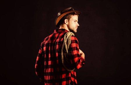 Countryside. Vintage style man. Wild West retro co...