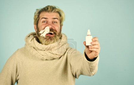 Man use nasal drops during course of disease. happ...