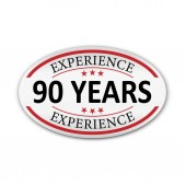 red vector illustration banner label experience 90 years