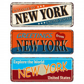 New York Retro souvenirs or old paper postcard templates on rust background States of America
