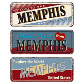 Memphis Retro souvenirs or old paper postcard templates on rust background States of America