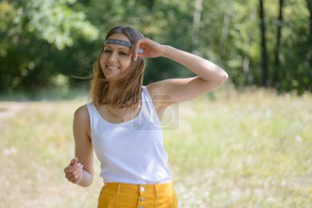 Hippie girl on natural background