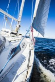 View from a sailboat, tilted by the wind, Baltic Sea