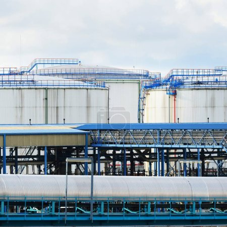 Photo for Oil storage tanks at Ventspils terminal at clear summer day - Royalty Free Image