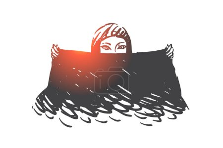 Muslim woman with black scarf concept sketch. Beautiful arab girl with almond-shaped eyes making shawl dance movement, mesmerizing glance of enigmatic arabian lady. Hand drawn isolated vector