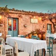 Marzamemi, Sicily - January 01, 2018: View of a typical restaurant in Marzamemi at sunset. Marzamemi, Sicily