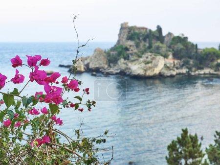 View of the bay of Isola Bella (Taormina) at sunse...