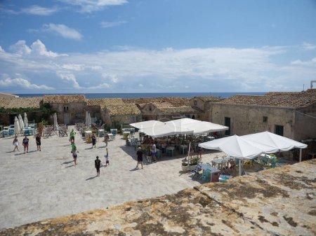 Panoramic shots of Marzamemi during daytime in sum...