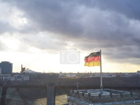 View from the terrace of the Reichstag building in...