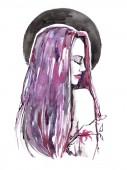 """Постер, картина, фотообои """"Beautiful with pink hair girl drawn by watercolor. Modern illustration. """""""