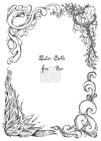 Photo for Four nature elements with calligraphic inscription located in the form of a frame. Ink hand drawing. Air, earth, water, fire. - Royalty Free Image