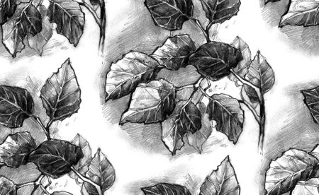 Photo for Seamless texture with hand drawn gray leaves on white. Repeating pattern with branch with foliage. Can be used as wallpaper, desktop, wrapping, fabric or background for your blog, covers, cards. - Royalty Free Image