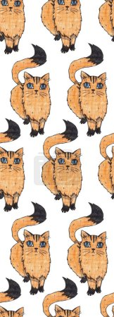 Photo for Seamless texture with hand drawn cats. Repeating pattern. Can be used as wallpaper, desktop, wrapping, fabric or background for your blog, covers, cards. - Royalty Free Image