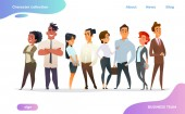 Collection of charming young businessmen and managers Flat modern cartoon style
