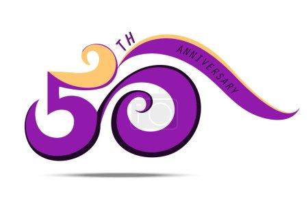 Photo pour 50 e anniversaire et célébration, logo violet numéro et signe art sur fond blanc - image libre de droit