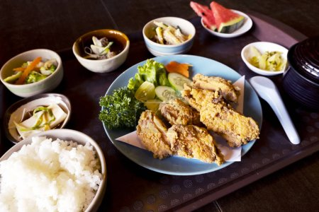 Photo for Fried chicken with Japanese style side dishes - Royalty Free Image