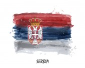 Watercolor painting flag of Serbia  Vector