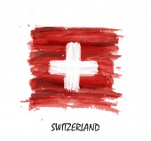 Watercolor painting flag of Switzerland  Vector