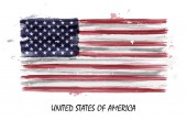 Realistic watercolor painting flag of United states of america  Vector
