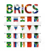 BRICS  association of 5 countries ( brazil  russia  india  china  south africa )  and various shape nation flag of country membership hanged on pole and world map background  Vector
