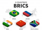 BRICS flag  association of 5 countries and map on white background  Isometric top design  Vector