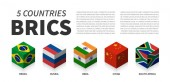BRICS flag  Association of 5 countries  3D cubic isometric top design  Vector